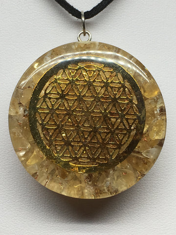 Flower Of Life Citrine Orgone Protection Pendant
