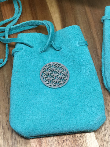 Flower Of Life Suede Turquoise Pouch