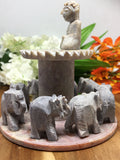 Circle of Eight Elephants with Buddha Soapstone Incense Burner