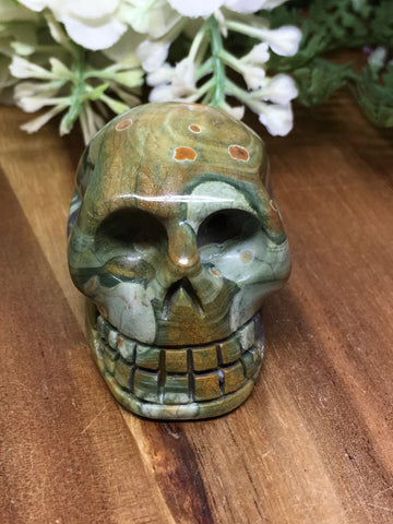 Rainforest Jasper (Rhyolite) Skull # 273