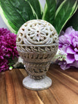Soapstone Floral Tealight Holder - Ball Shape