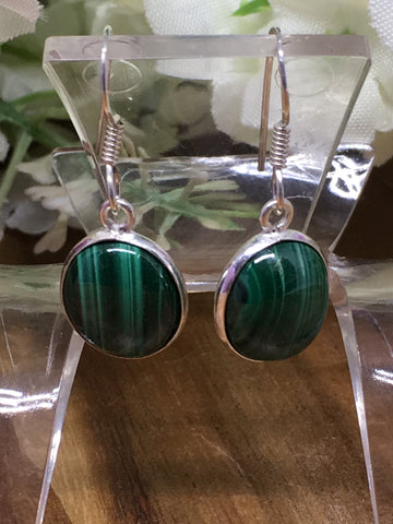 Malachite Oval Sterling Silver Earrings