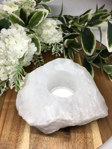 Natural Clear Quartz Candle Holder # 305