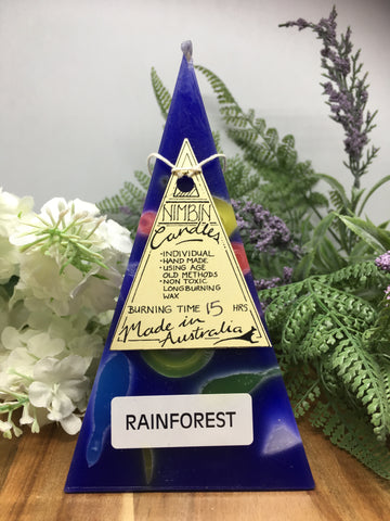Dark Blue Mini Funky Pyramid Candle - Rainforest Scent