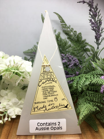 Opal Light Pyramid Candle - small