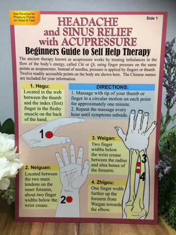 Headache & Sinus Relief with Acupressure  (A5 chart)