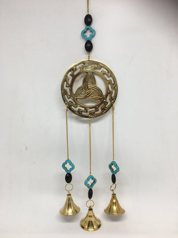 Hanging Triquetra with Turquoise Flower & Bells