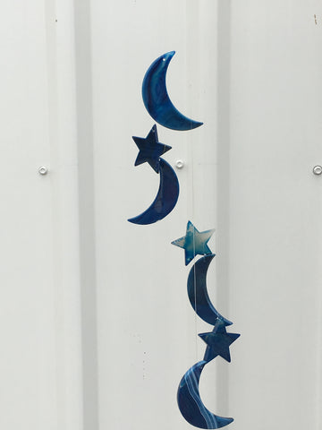 Blue Dyed Agate Wind Chimes - Moon & Stars