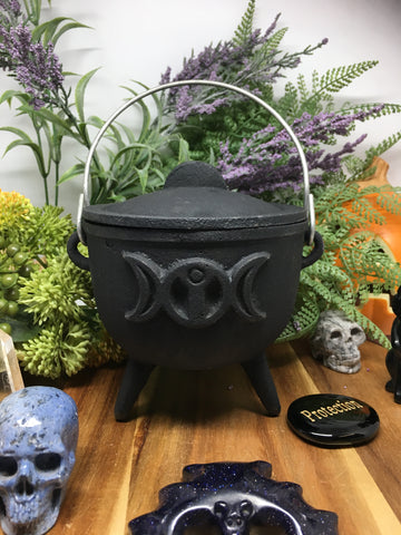10.5cm Triple Moon Wrought Iron Cauldron