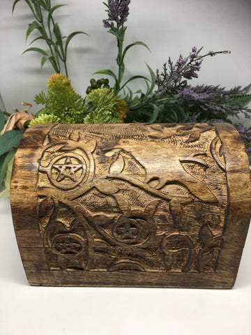 Raven, Pentacle Carved Wooden Chest