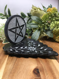 "5.5"" Pentacle On Leaf Soapstone Incense Burner"