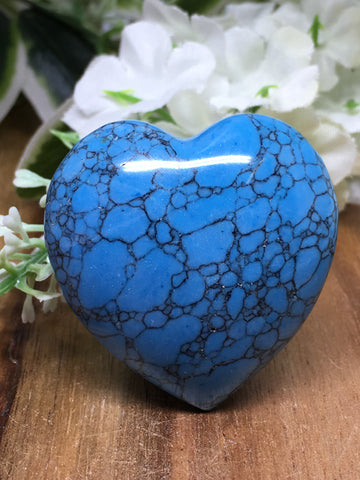 Blue Howlite Puff Heart # 403 - 40mm