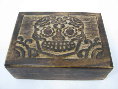 Skull Carved Wooden Box