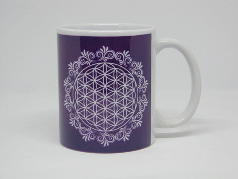 White Flower of Life Ceramic Mug