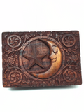 Star & Moon Carved Wooden Box