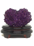 Amethyst Cluster Heart with Wooden Stand # 99