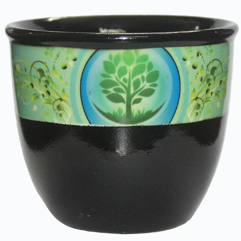 Black Ceramic Smudge Bowl - Tree Of Life (large)