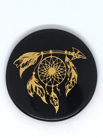 Black Agate Engraved Altar Tile 8cm - Dream Catcher