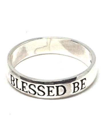 'Blessed Be' Engraved Sterling Silver Ring