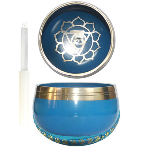 7.5cm Blue Singing Bowl with Cushion & Glass Stick - Throat Chakra