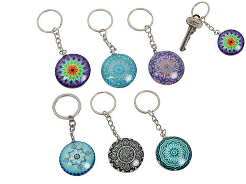 Boho Glass Key Rings