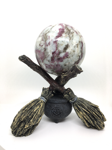 Witches Broomsticks Crystal Ball Holder