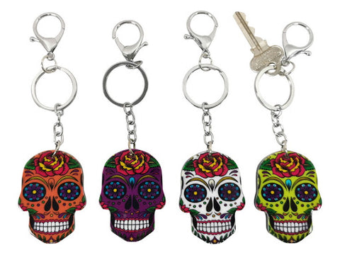 Candy Skull Key Rings - 4 ASSTD