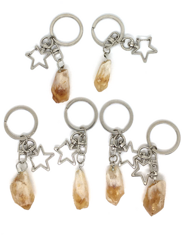 Citrine Rough Point with Star Key Chain