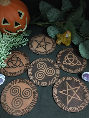Set of 6 Witchy Coasters / Celtic Wicca Pagan Tiles - Jarrah