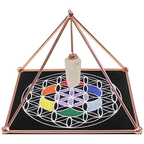 Copper Energiser Pyramid with Point & Mat