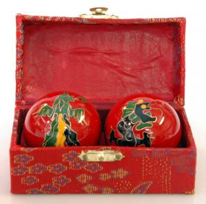 Chinese Baoding Balls 40mm - Red Dragon & Phoenix