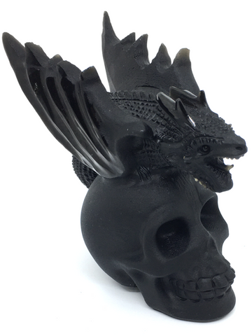Black Obsidian Dragon on Skull #429
