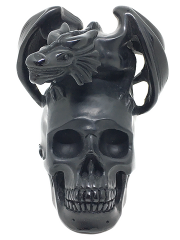 Black Obsidian Dragon on Skull #311
