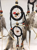 Black Dream Catcher Leather and Stone Chip 12cm
