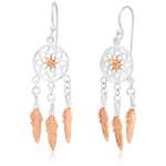 Dream Catcher Sterling Silver & Rose Gold Plated Earrings 40mm