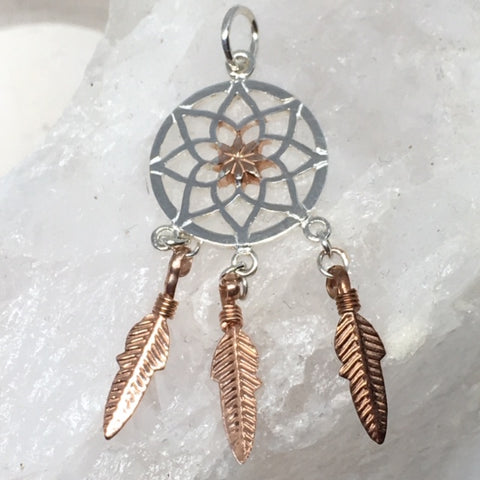 Dream Catcher Sterling Silver & Rose Gold Plated Pendant - 4cm