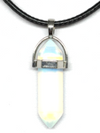 Double Terminated Pendant with Silver Collar 40mm