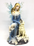 Blue Ice Fairy with Wolf 19cm