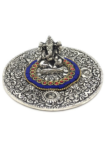 Ganesh with Red & Blue Stone Inlay Round Aluminum Incense Holder 11cm