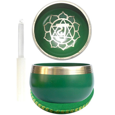 7.5cm Green Singing Bowl with Cushion & Glass Stick - Heart Chakra