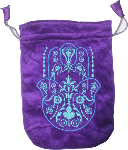 Hand of Fatima Purple Velvet Bag