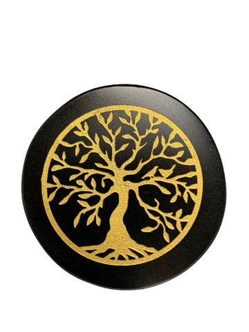 Black Agate Engraved Altar Tile 8cm - Tree Of Life