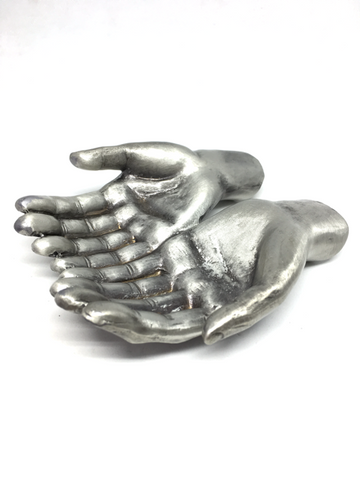Open Hands Large Pewter Sphere Stand