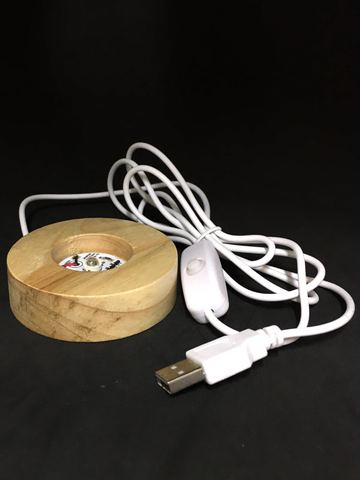 Wooden Light Stand with USB Cable