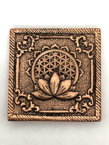 Aluminum Square Lotus & Seed of Life Incense Holder - Copper Colour