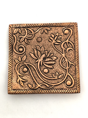 Aluminum Square Lotus Incense Holder - Copper Colour