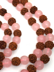 Rose Quartz & Rudraksha Mala Beads - 8mm