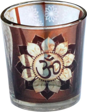 Om Printed Glass Votive