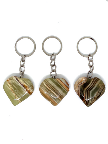 Green Onyx Heart Key Rings