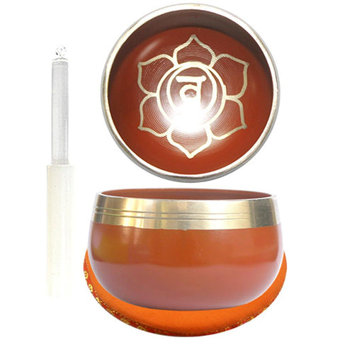 7.5cm Orange Singing Bowl with Cushion & Glass Stick - Sacral Chakra